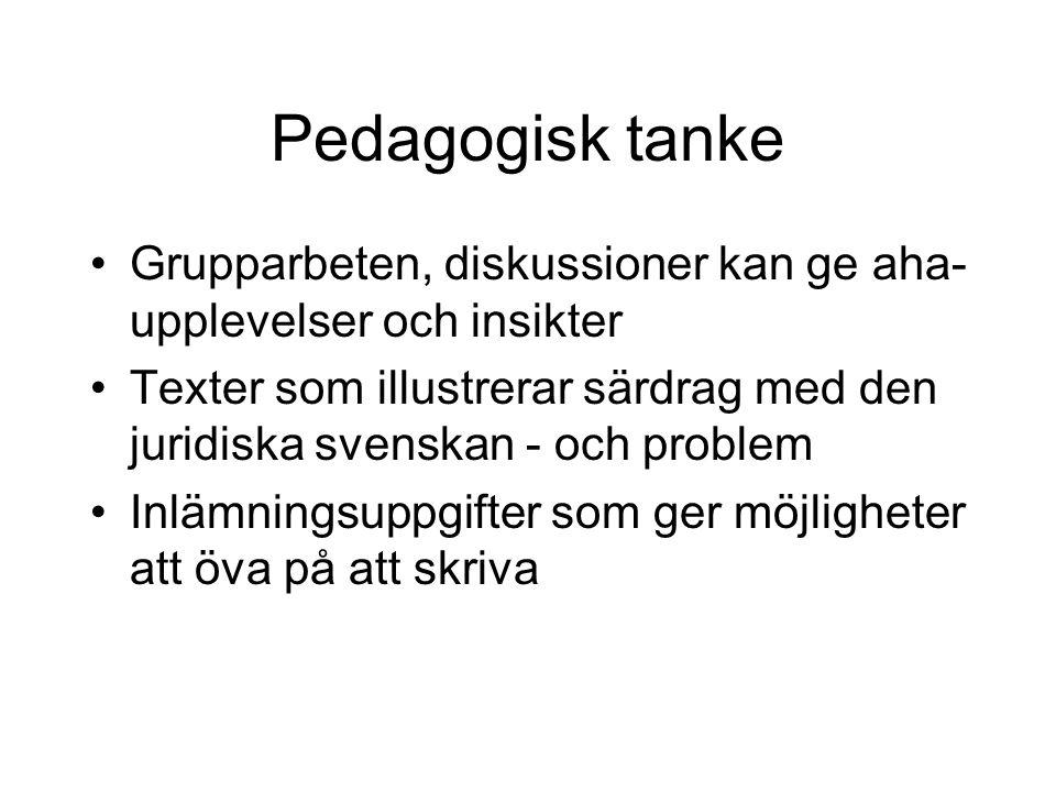 Pedagogisk tanke Grupparbeten, diskussioner kan ge aha- upplevelser och insikter Texter som illustrerar särdrag med den juridiska svenskan - och probl