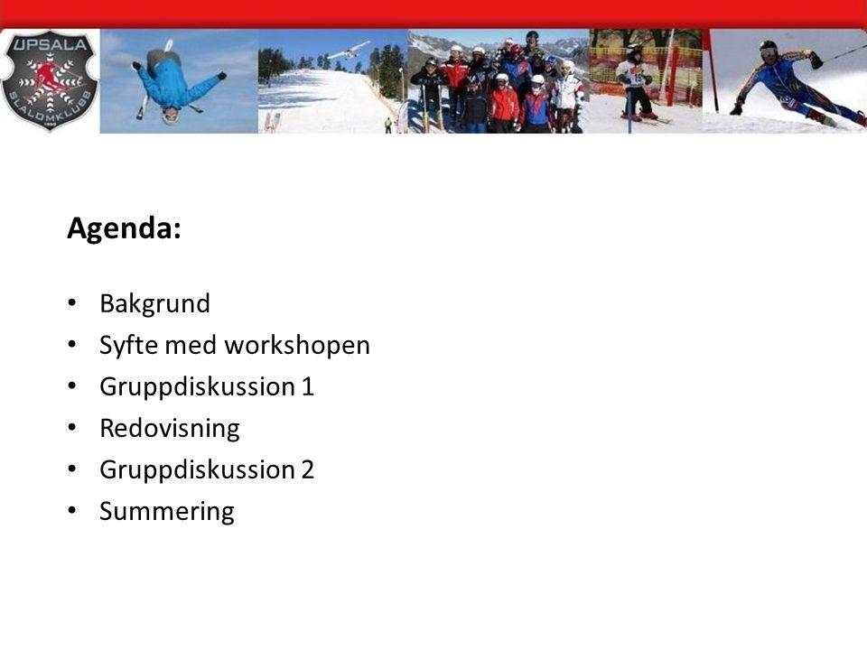 Agenda: Bakgrund Syfte med workshopen Gruppdiskussion 1 Redovisning Gruppdiskussion 2 Summering