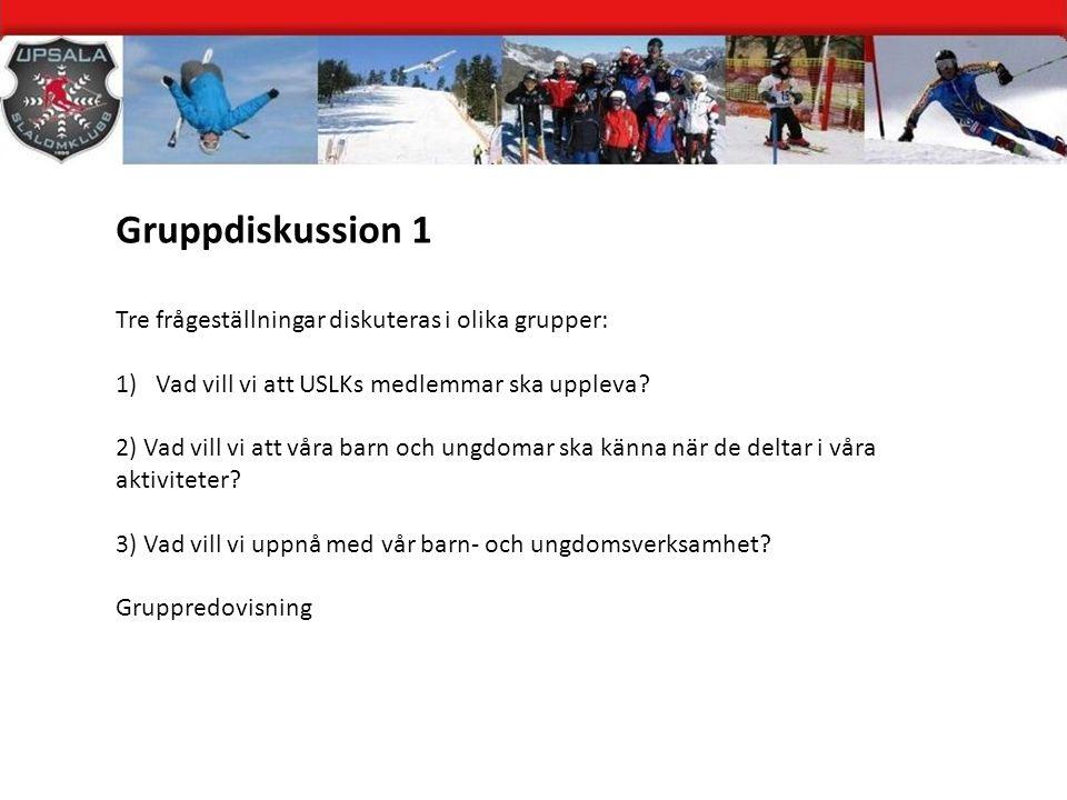 Gruppdiskussion 1 Tre frågeställningar diskuteras i olika grupper: 1)Vad vill vi att USLKs medlemmar ska uppleva.