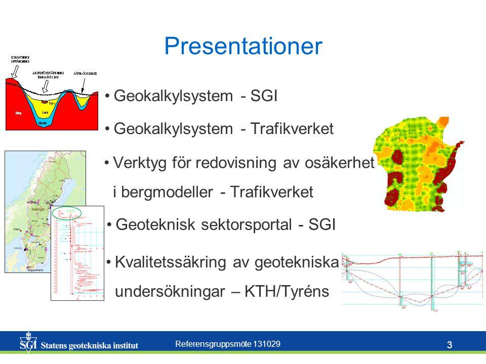 Referensgruppsmöte 131029 3 Presentationer Geokalkylsystem - SGI Geokalkylsystem - Trafikverket Geoteknisk sektorsportal - SGI Verktyg för redovisning av osäkerhet i bergmodeller - Trafikverket Kvalitetssäkring av geotekniska undersökningar – KTH/Tyréns