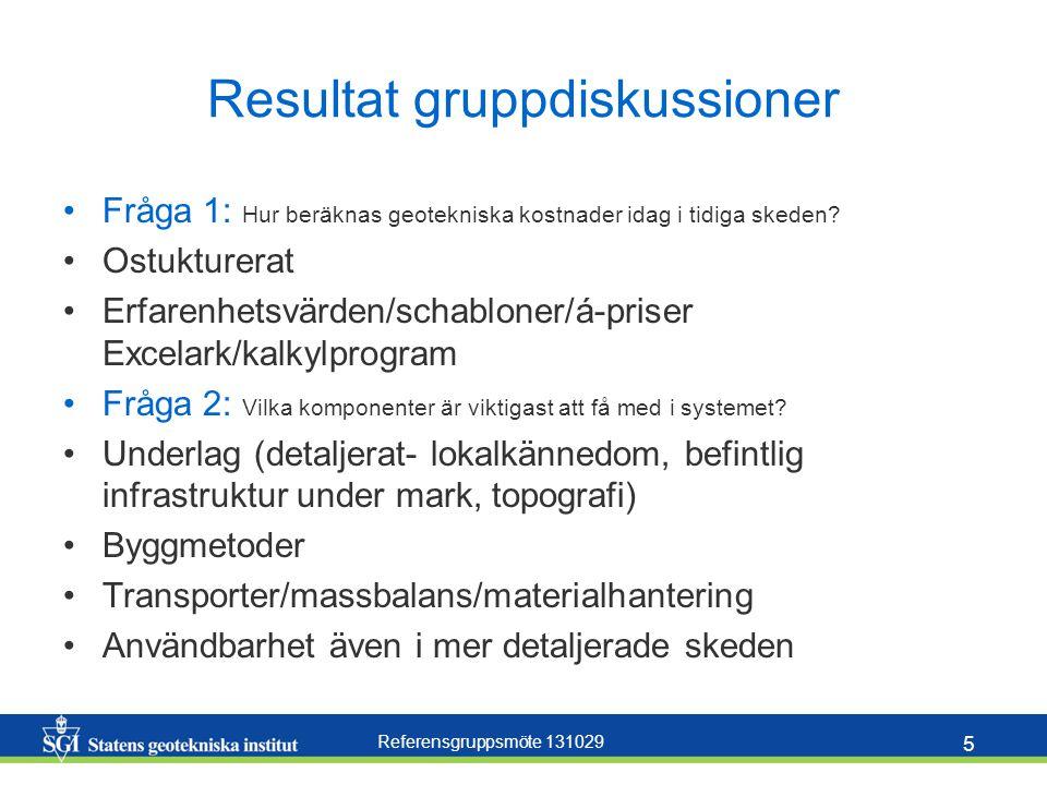 Referensgruppsmöte 131029 5 Resultat gruppdiskussioner Fråga 1: Hur beräknas geotekniska kostnader idag i tidiga skeden? Ostukturerat Erfarenhetsvärde