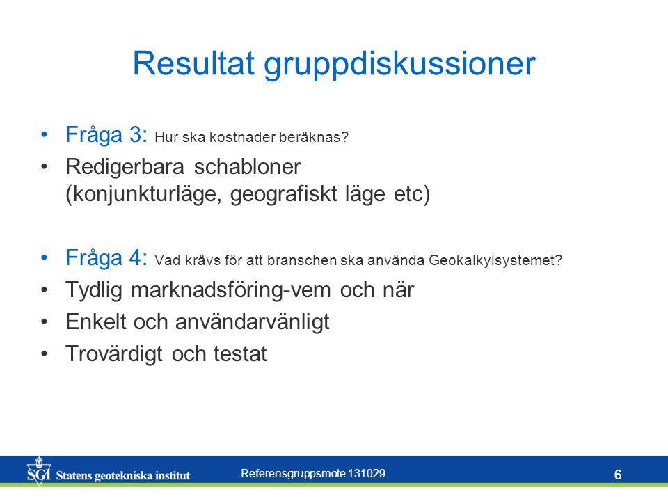 Referensgruppsmöte 131029 6 Resultat gruppdiskussioner Fråga 3: Hur ska kostnader beräknas? Redigerbara schabloner (konjunkturläge, geografiskt läge e