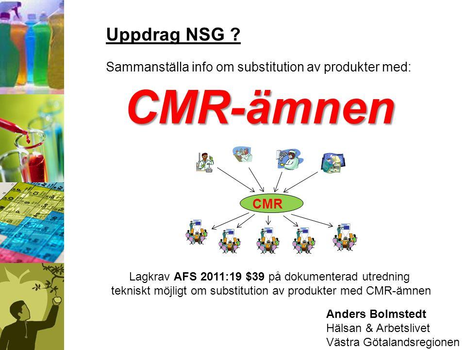 Anders Bolmstedt Hälsan & Arbetslivet Västra Götalandsregionen CMR-ämnen Uppdrag NSG ? Sammanställa info om substitution av produkter med: Lagkrav AFS