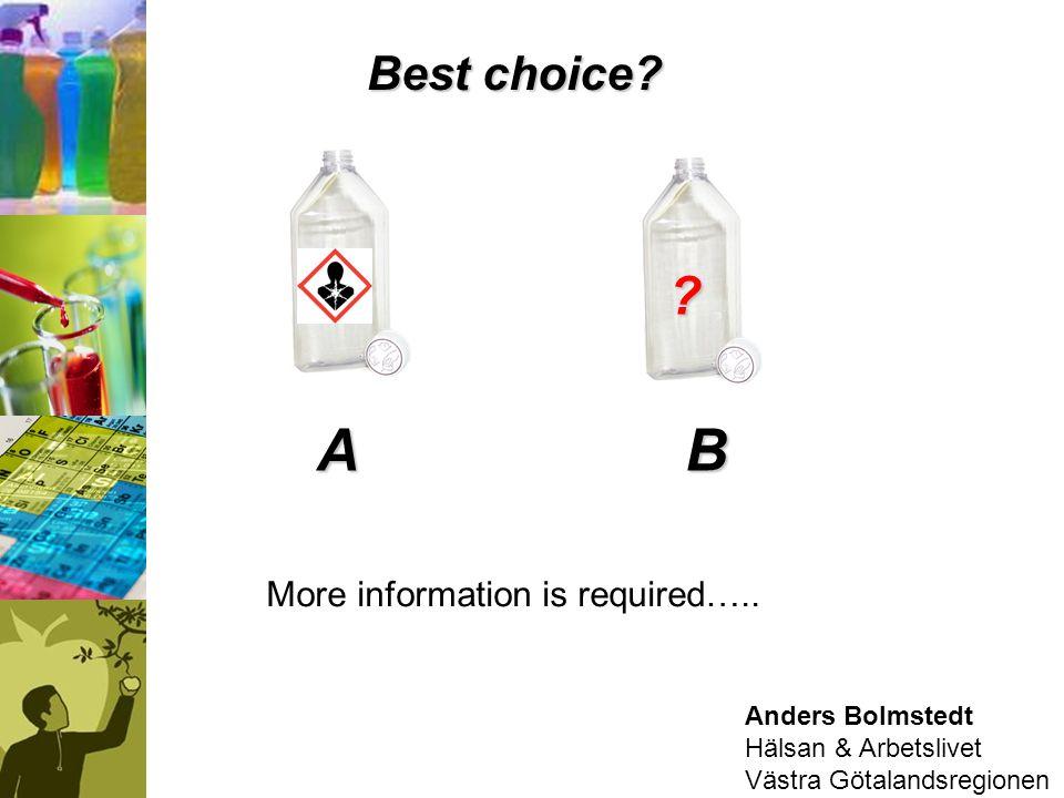 Anders Bolmstedt Hälsan & Arbetslivet Västra Götalandsregionen BA ? Best choice? More information is required…..