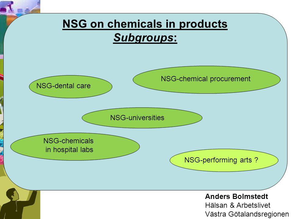 Anders Bolmstedt Hälsan & Arbetslivet Västra Götalandsregionen NSG on chemicals in products Subgroups: NSG-dental care NSG-universities NSG-chemical p