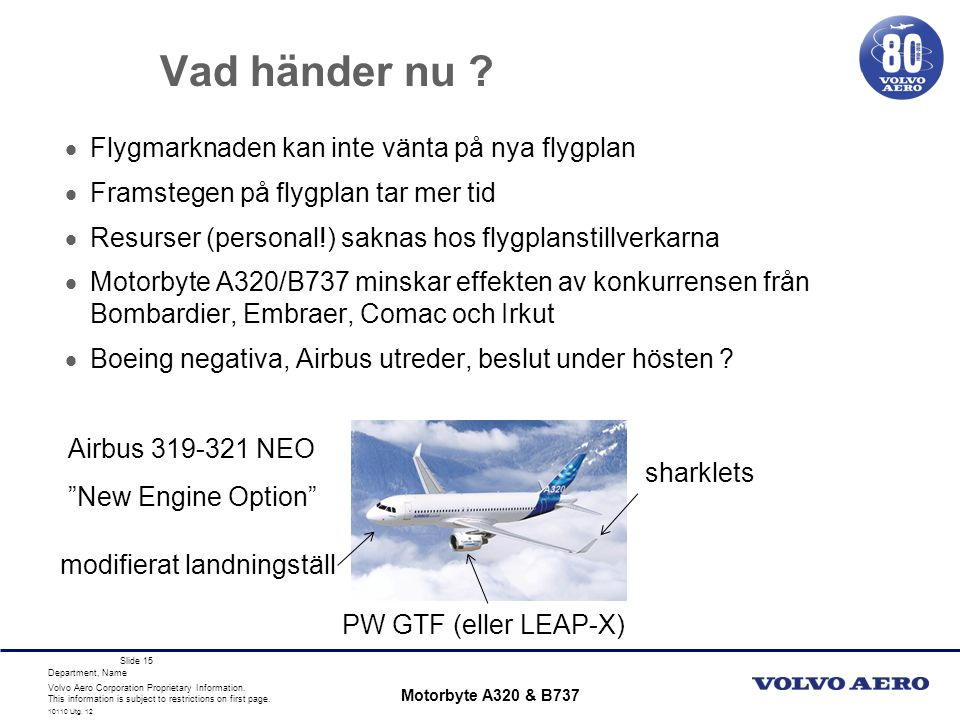 Volvo Aero Corporation Proprietary Information. This information is subject to restrictions on first page. Department, Name 10110 Utg. 12 Slide 15 Vad