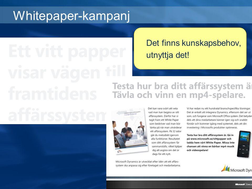Whitepaper-kampanj Det finns kunskapsbehov, utnyttja det!