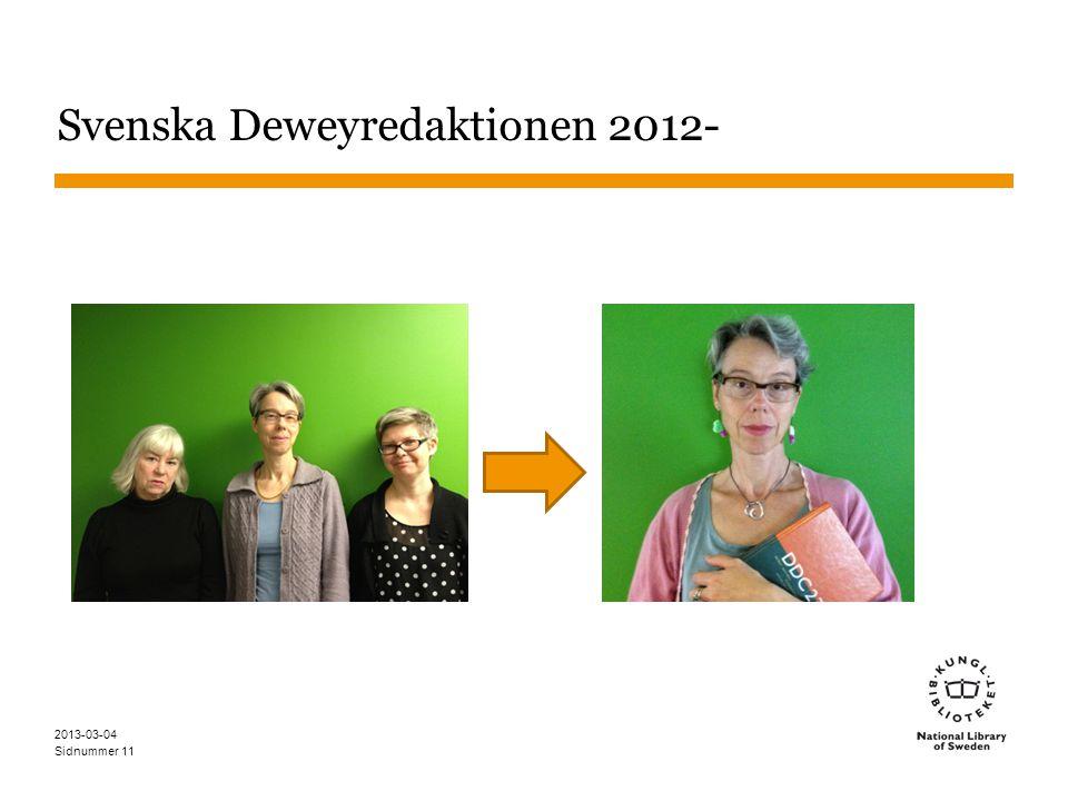 Sidnummer Svenska Deweyredaktionen 2012- 2013-03-04 11