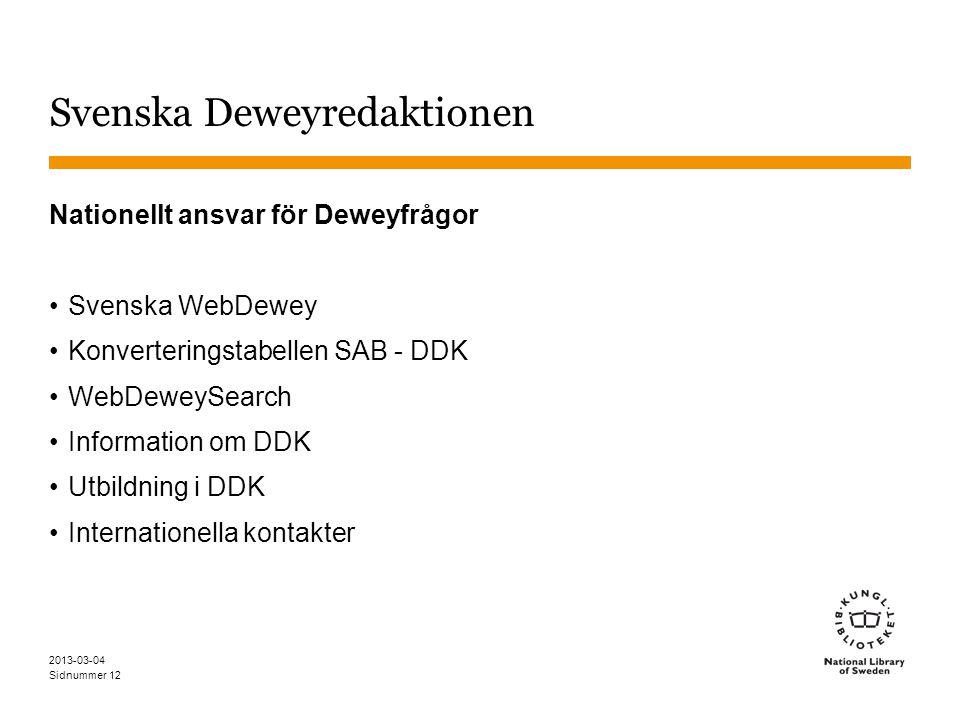Sidnummer 2013-03-04 12 Svenska Deweyredaktionen Nationellt ansvar för Deweyfrågor Svenska WebDewey Konverteringstabellen SAB - DDK WebDeweySearch Information om DDK Utbildning i DDK Internationella kontakter
