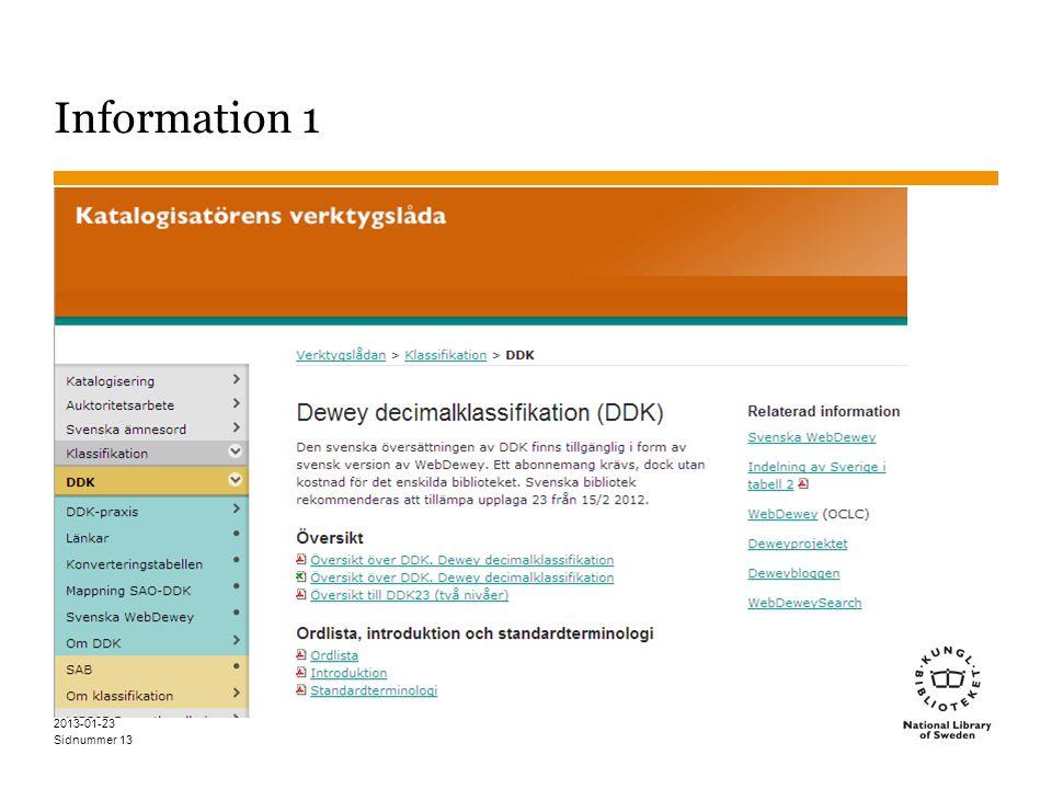 Sidnummer 2013-01-23 13 Information 1