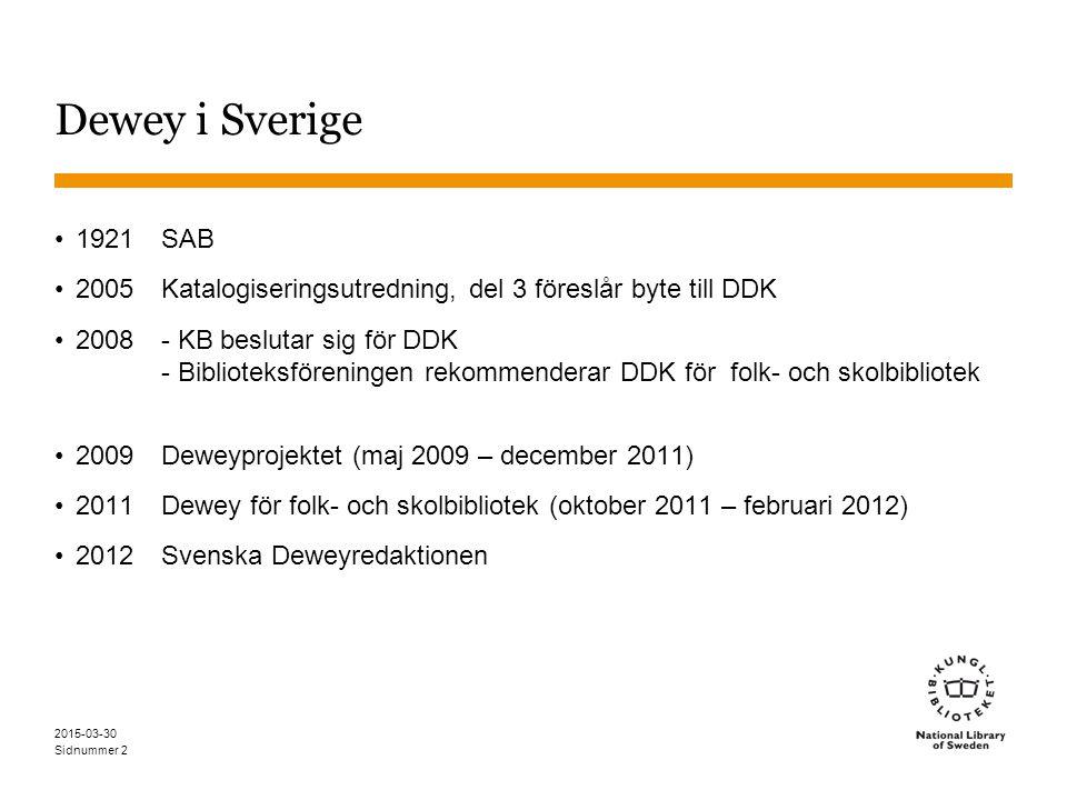 Sidnummer 2015-03-30 2 Dewey i Sverige 1921SAB 2005 Katalogiseringsutredning, del 3 föreslår byte till DDK 2008- KB beslutar sig för DDK - Biblioteksföreningen rekommenderar DDK för folk- och skolbibliotek 2009Deweyprojektet (maj 2009 – december 2011) 2011Dewey för folk- och skolbibliotek (oktober 2011 – februari 2012) 2012Svenska Deweyredaktionen