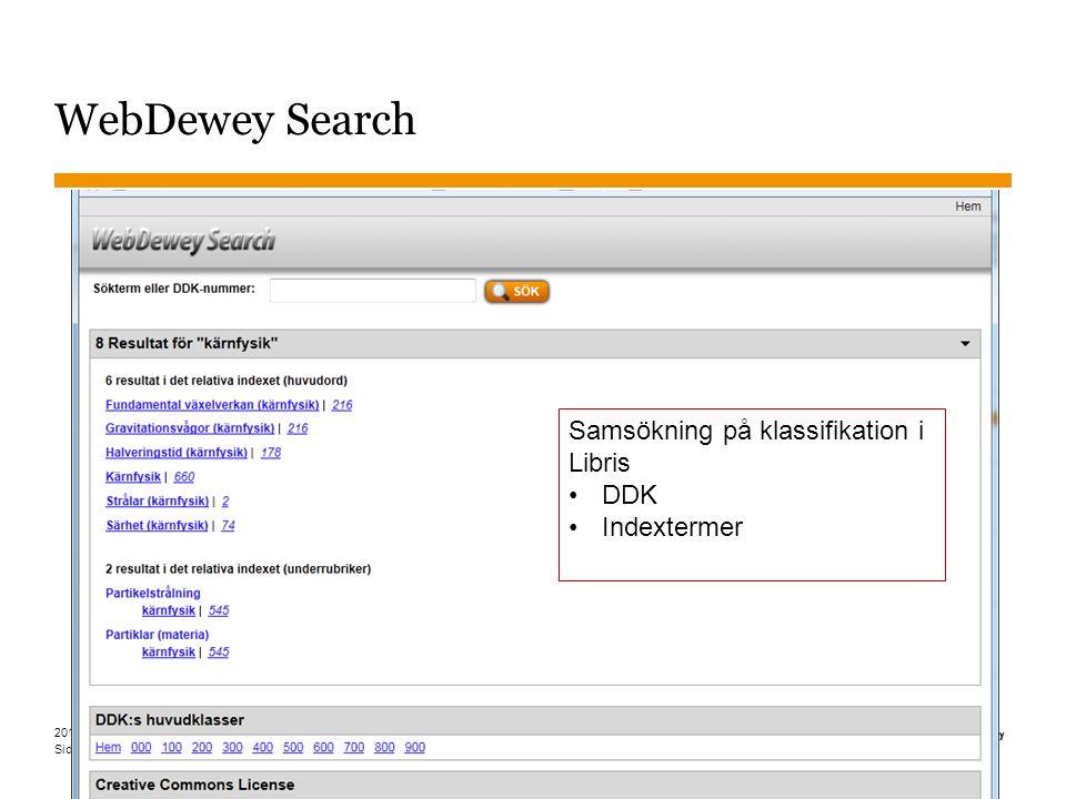 Sidnummer WebDewey Search 2015-03-30 7 Samsökning på klassifikation i Libris DDK Indextermer