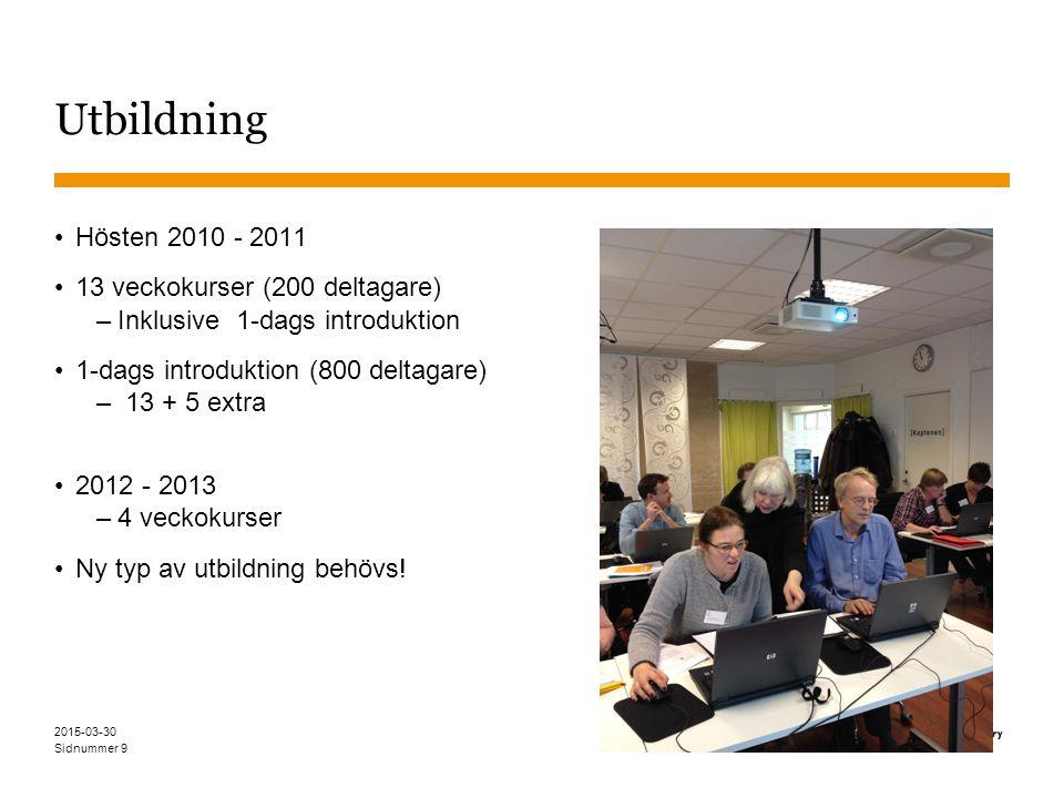 Sidnummer Utbildning Hösten 2010 - 2011 13 veckokurser (200 deltagare) –Inklusive 1-dags introduktion 1-dags introduktion (800 deltagare) – 13 + 5 extra 2012 - 2013 –4 veckokurser Ny typ av utbildning behövs.