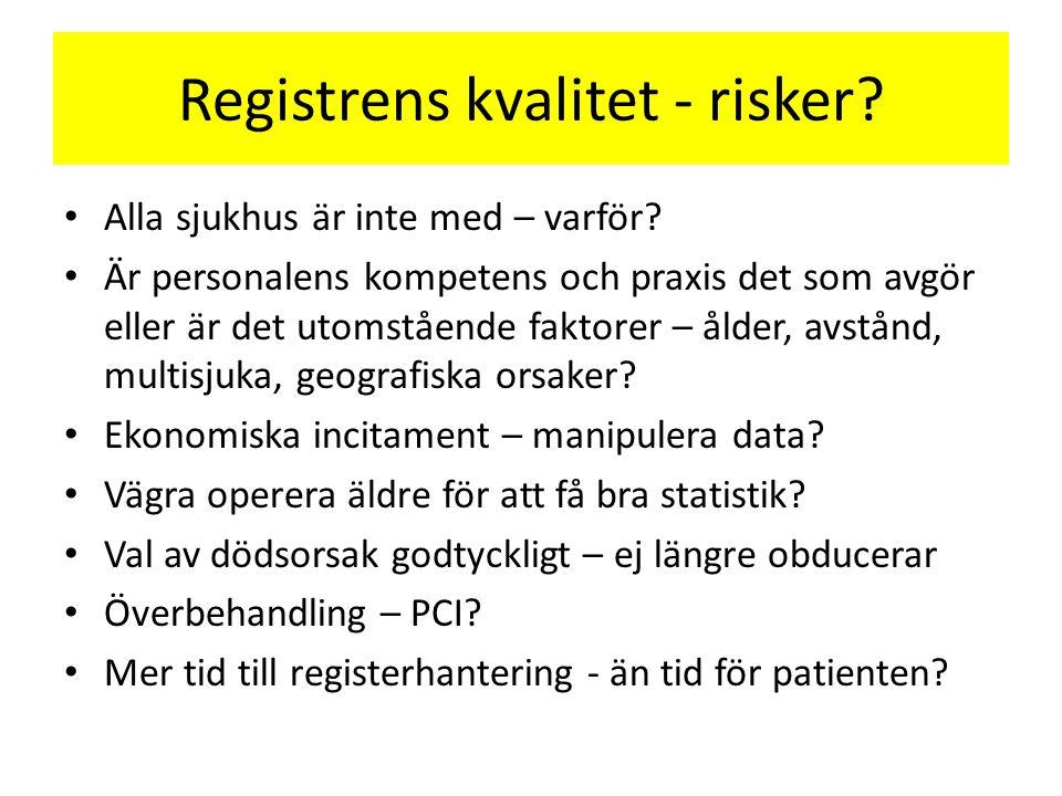 Registrens kvalitet - risker. Alla sjukhus är inte med – varför.