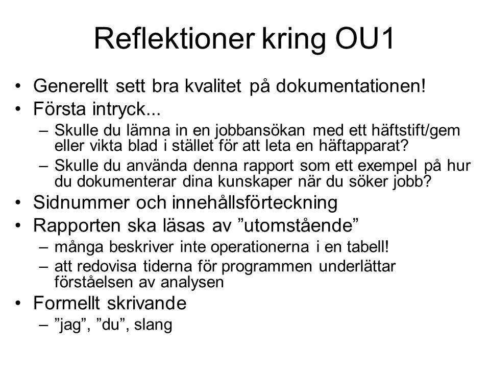 Reflektioner kring OU1 Kommentera koden.