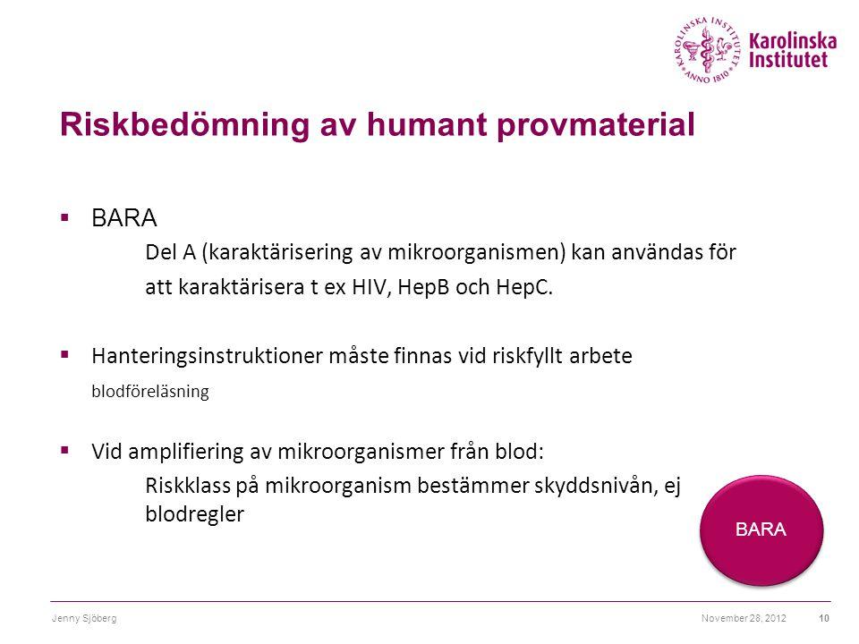 Riskbedömning av humant provmaterial  BARA Del A (karaktärisering av mikroorganismen) kan användas för att karaktärisera t ex HIV, HepB och HepC.  H