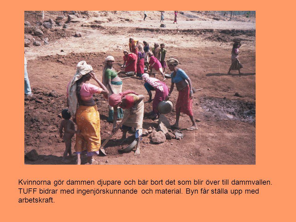 Kvinnorna gör dammen djupare och bär bort det som blir över till dammvallen.