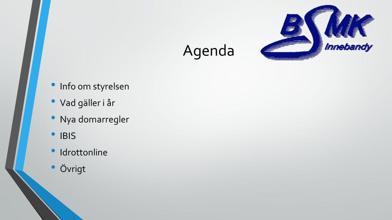 Agenda Info om styrelsen Vad gäller i år Nya domarregler IBIS Idrottonline Övrigt