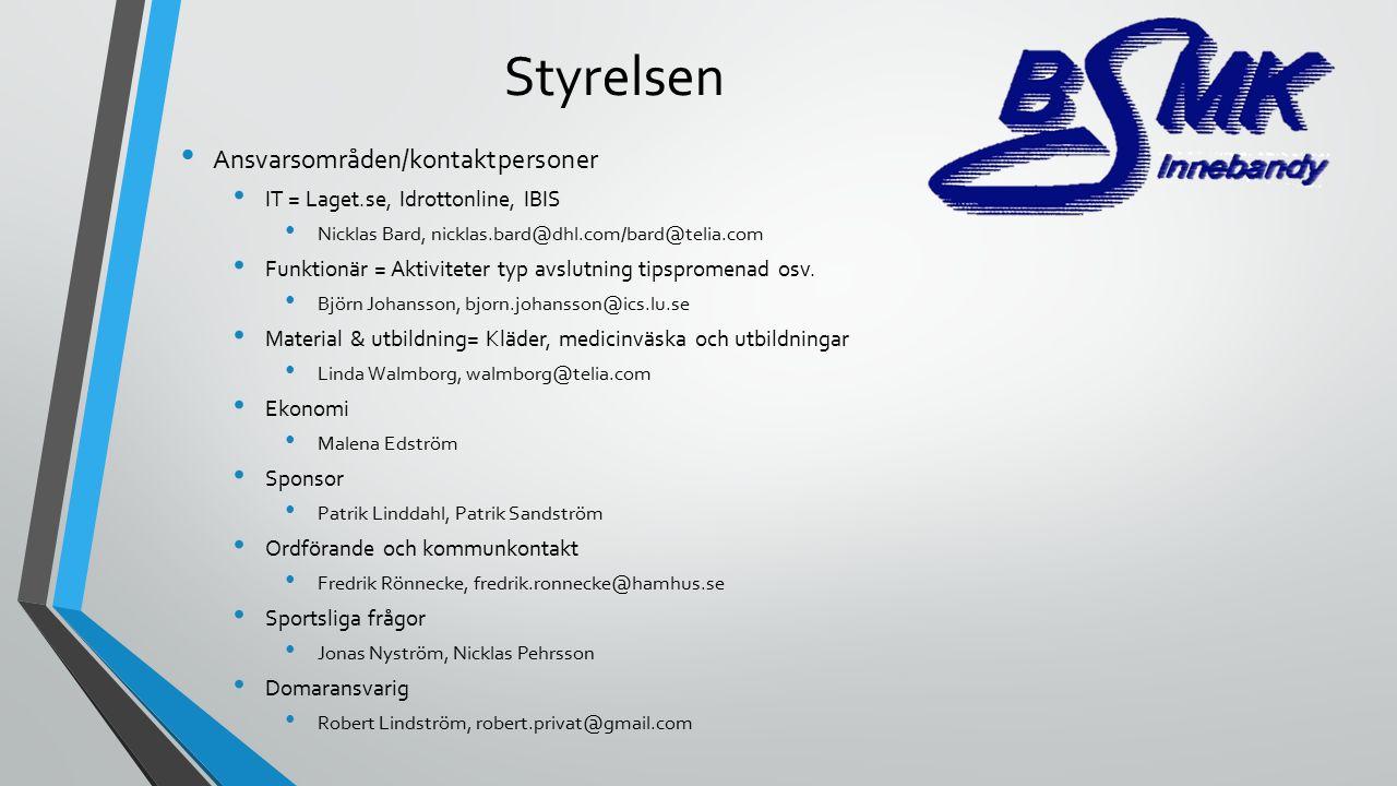 Styrelsen Ansvarsområden/kontaktpersoner IT = Laget.se, Idrottonline, IBIS Nicklas Bard, nicklas.bard@dhl.com/bard@telia.com Funktionär = Aktiviteter typ avslutning tipspromenad osv.