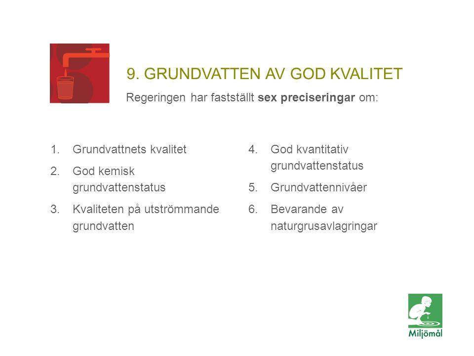 9. GRUNDVATTEN AV GOD KVALITET Regeringen har fastställt sex preciseringar om: 1.Grundvattnets kvalitet 2.God kemisk grundvattenstatus 3.Kvaliteten på