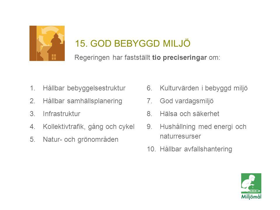 15. GOD BEBYGGD MILJÖ Regeringen har fastställt tio preciseringar om: 6.Kulturvärden i bebyggd miljö 7.God vardagsmiljö 8.Hälsa och säkerhet 9.Hushåll