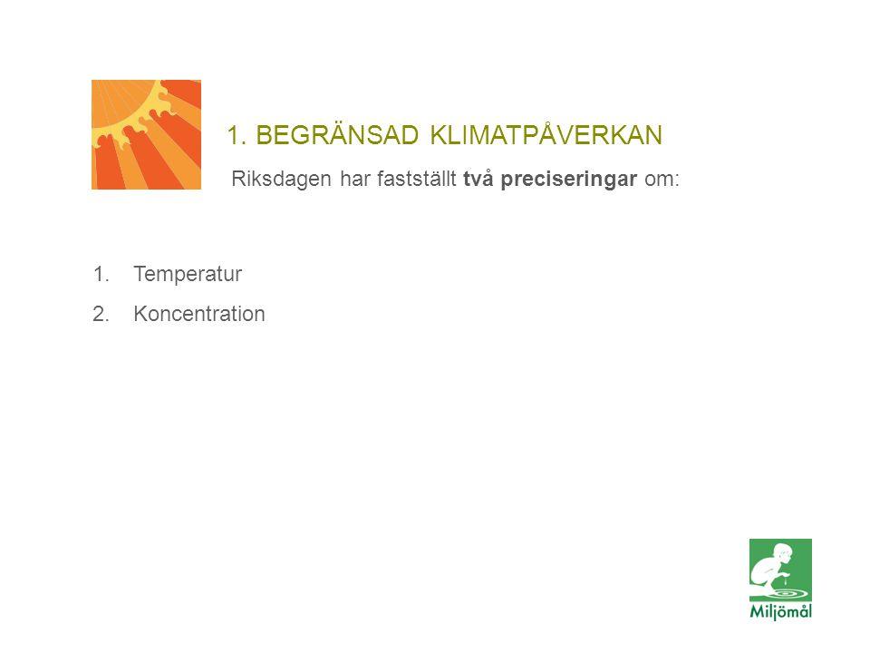 1. BEGRÄNSAD KLIMATPÅVERKAN 1.Temperatur 2.Koncentration Riksdagen har fastställt två preciseringar om: