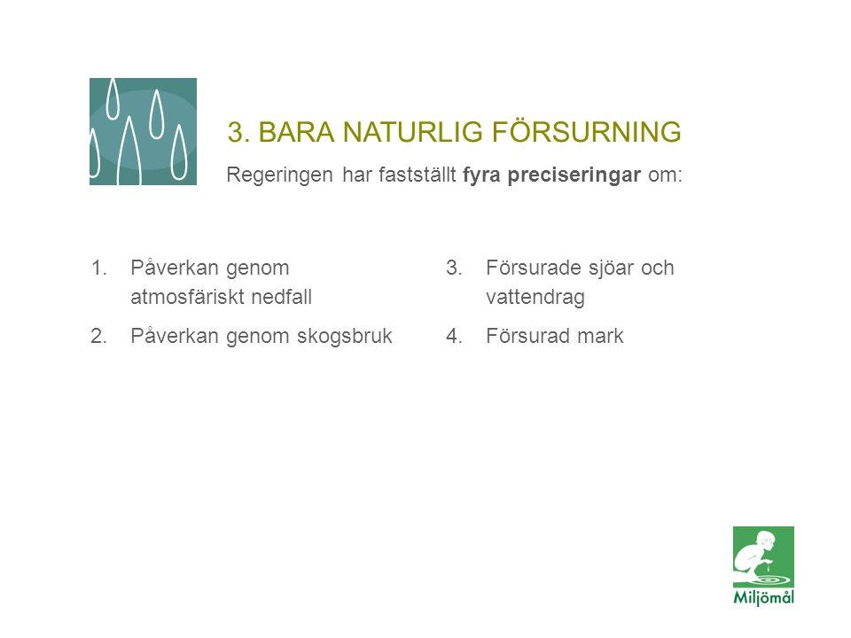 3. BARA NATURLIG FÖRSURNING Regeringen har fastställt fyra preciseringar om: 1.Påverkan genom atmosfäriskt nedfall 2.Påverkan genom skogsbruk 3.Försur