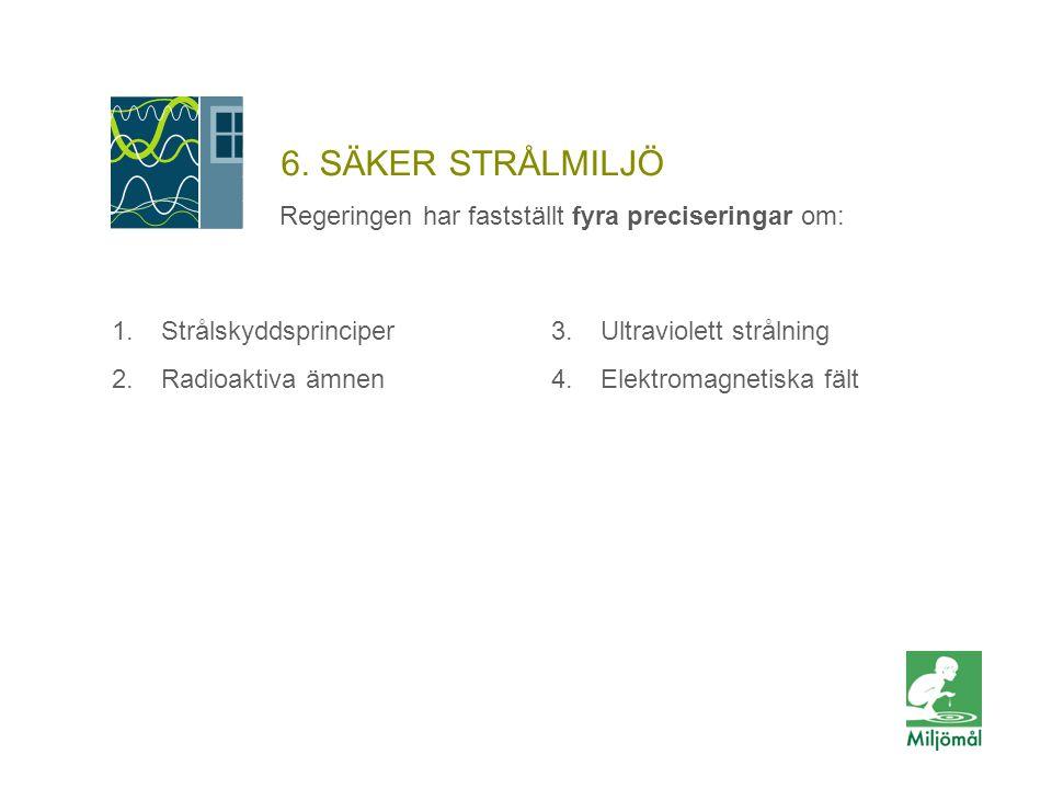 6. SÄKER STRÅLMILJÖ Regeringen har fastställt fyra preciseringar om: 1.Strålskyddsprinciper 2.Radioaktiva ämnen 3.Ultraviolett strålning 4.Elektromagn