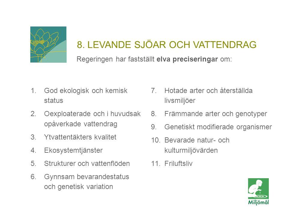 8. LEVANDE SJÖAR OCH VATTENDRAG Regeringen har fastställt elva preciseringar om: 1.God ekologisk och kemisk status 2.Oexploaterade och i huvudsak opåv