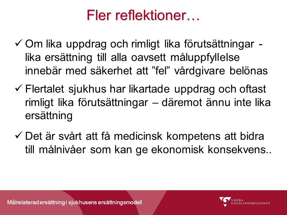 Målrelaterad ersättning i sjukhusens ersättningsmodell Fler reflektioner… Om lika uppdrag och rimligt lika förutsättningar - lika ersättning till alla
