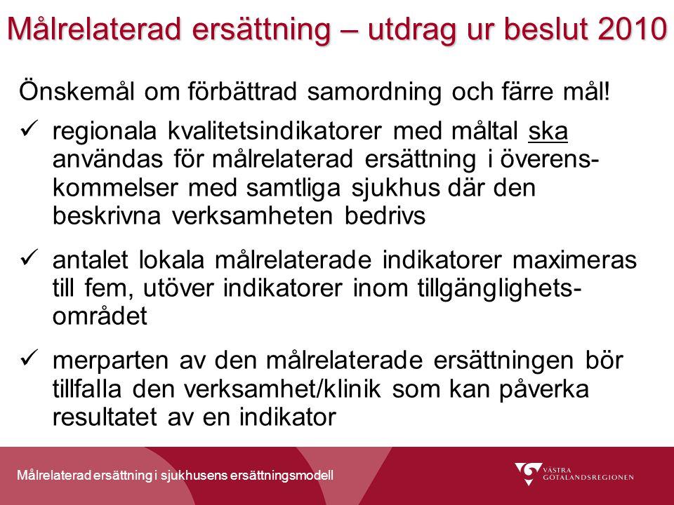 Målrelaterad ersättning i sjukhusens ersättningsmodell Målrelaterad ersättning – utdrag ur beslut 2010 Önskemål om förbättrad samordning och färre mål