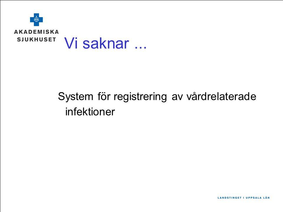 Vi saknar... System för registrering av vårdrelaterade infektioner