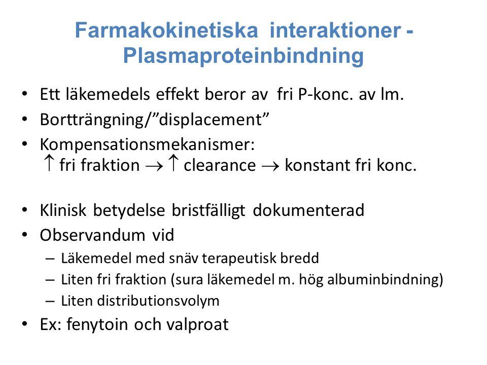 """Farmakokinetiska interaktioner - Plasmaproteinbindning Ett läkemedels effekt beror av fri P-konc. av lm. Bortträngning/""""displacement"""" Kompensationsmek"""