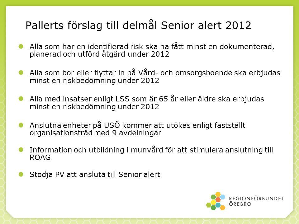 Pallerts förslag till delmål Senior alert 2012 Alla som har en identifierad risk ska ha fått minst en dokumenterad, planerad och utförd åtgärd under 2