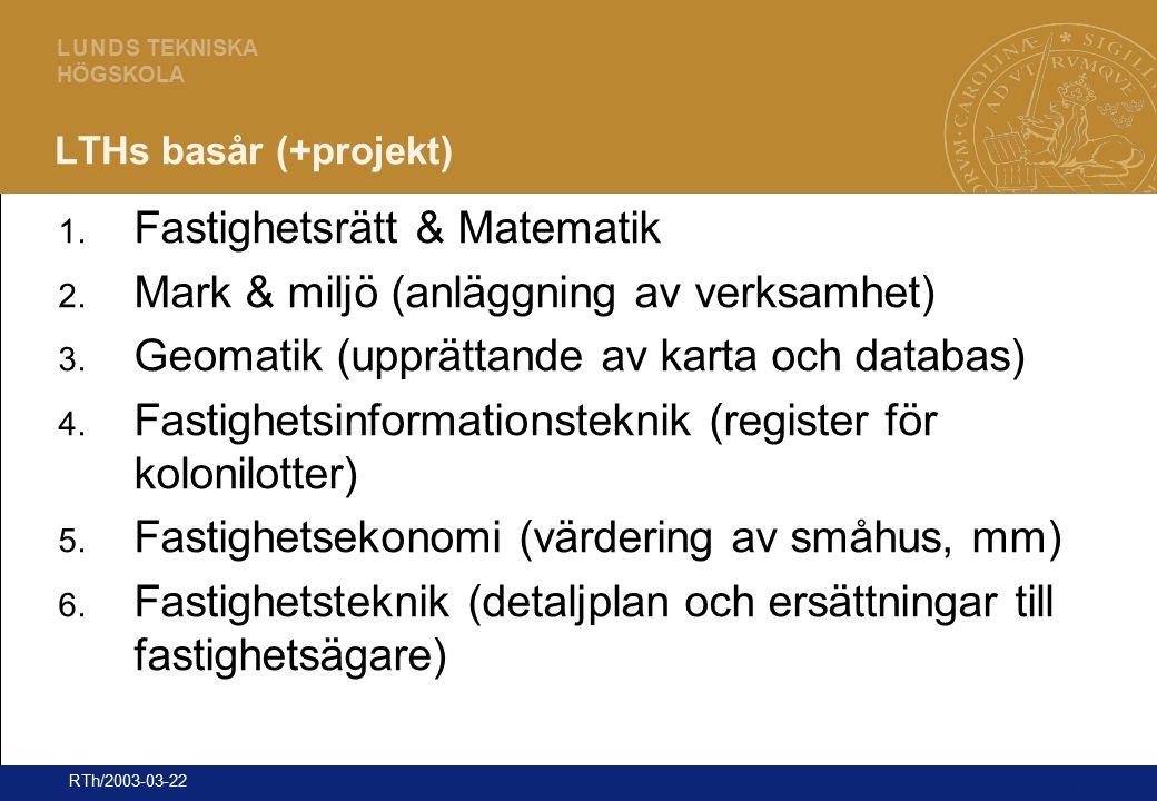 21 L U N D S TEKNISKA HÖGSKOLA RTh/2003-03-22 LTHs basår (+projekt) 1. Fastighetsrätt & Matematik 2. Mark & miljö (anläggning av verksamhet) 3. Geomat
