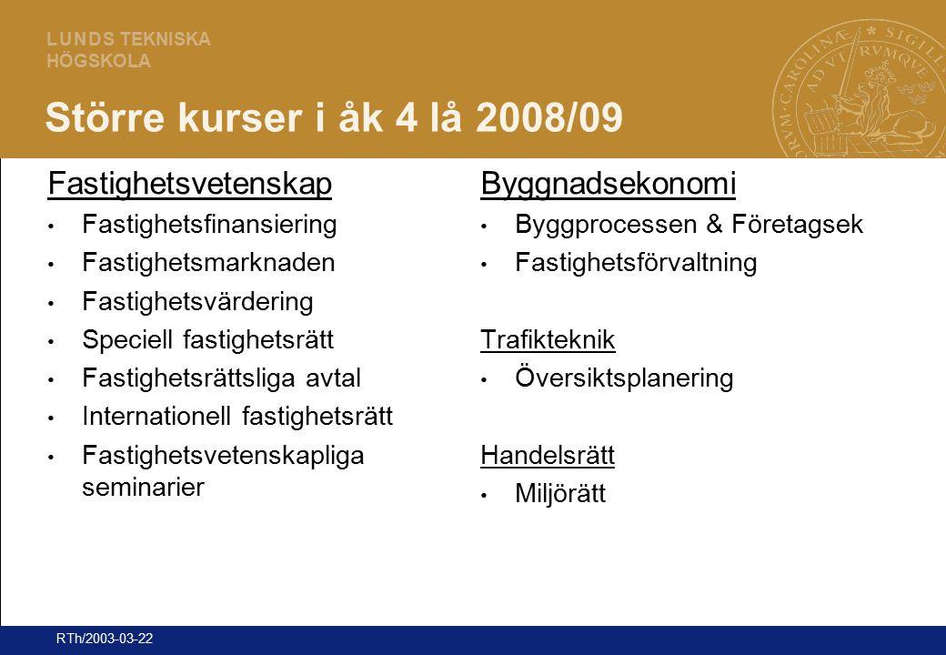 24 L U N D S TEKNISKA HÖGSKOLA RTh/2003-03-22 Större kurser i åk 4 lå 2008/09 Fastighetsvetenskap Fastighetsfinansiering Fastighetsmarknaden Fastighet