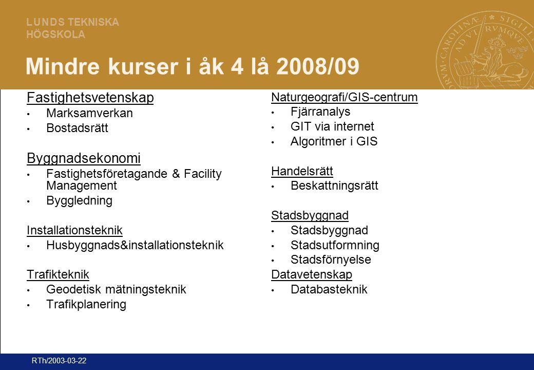 25 L U N D S TEKNISKA HÖGSKOLA RTh/2003-03-22 Mindre kurser i åk 4 lå 2008/09 Fastighetsvetenskap Marksamverkan Bostadsrätt Byggnadsekonomi Fastighets