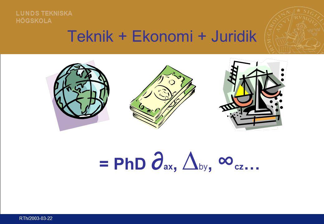 29 L U N D S TEKNISKA HÖGSKOLA RTh/2003-03-22 Teknik + Ekonomi + Juridik = PhD ∂ ax, ∆ by, ∞ cz …
