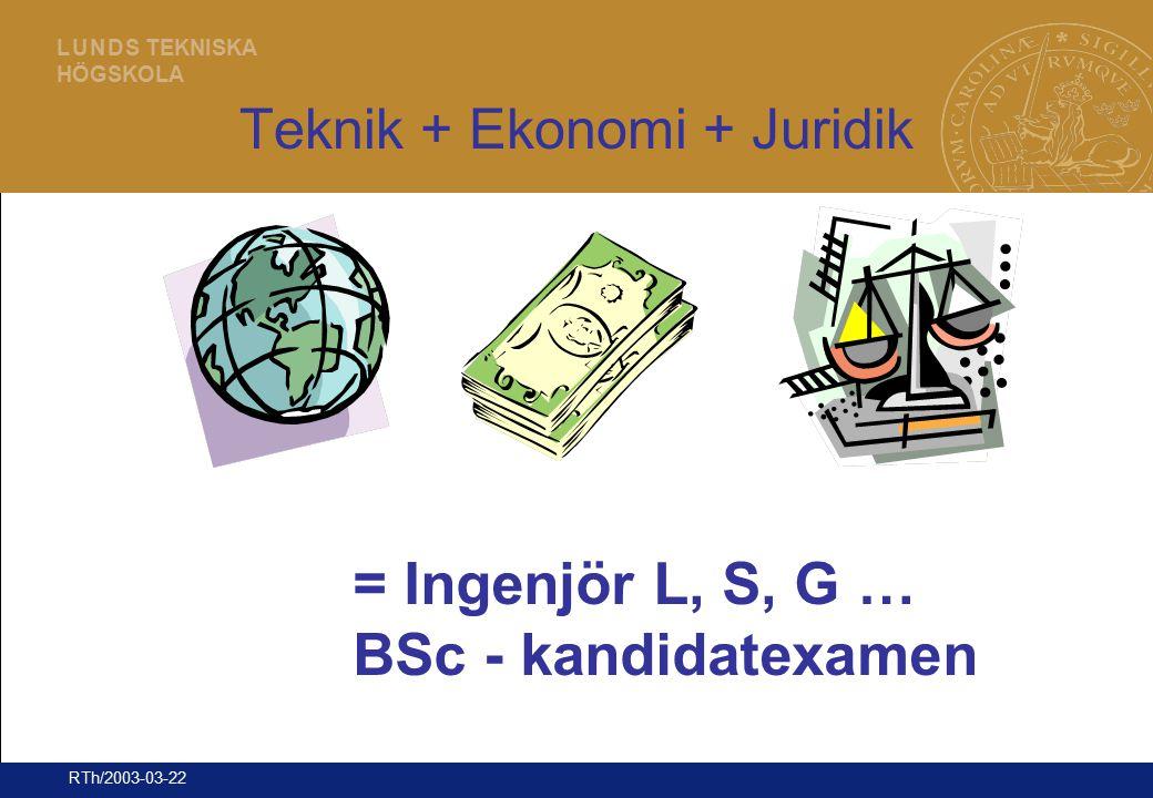 7 L U N D S TEKNISKA HÖGSKOLA RTh/2003-03-22 Teknik + Ekonomi + Juridik = Ingenjör L, S, G … BSc - kandidatexamen