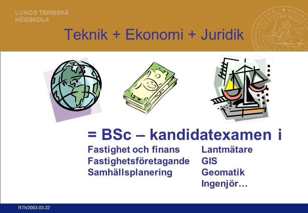 8 L U N D S TEKNISKA HÖGSKOLA RTh/2003-03-22 Teknik + Ekonomi + Juridik = BSc – kandidatexamen i Fastighet och finansLantmätare FastighetsföretagandeG