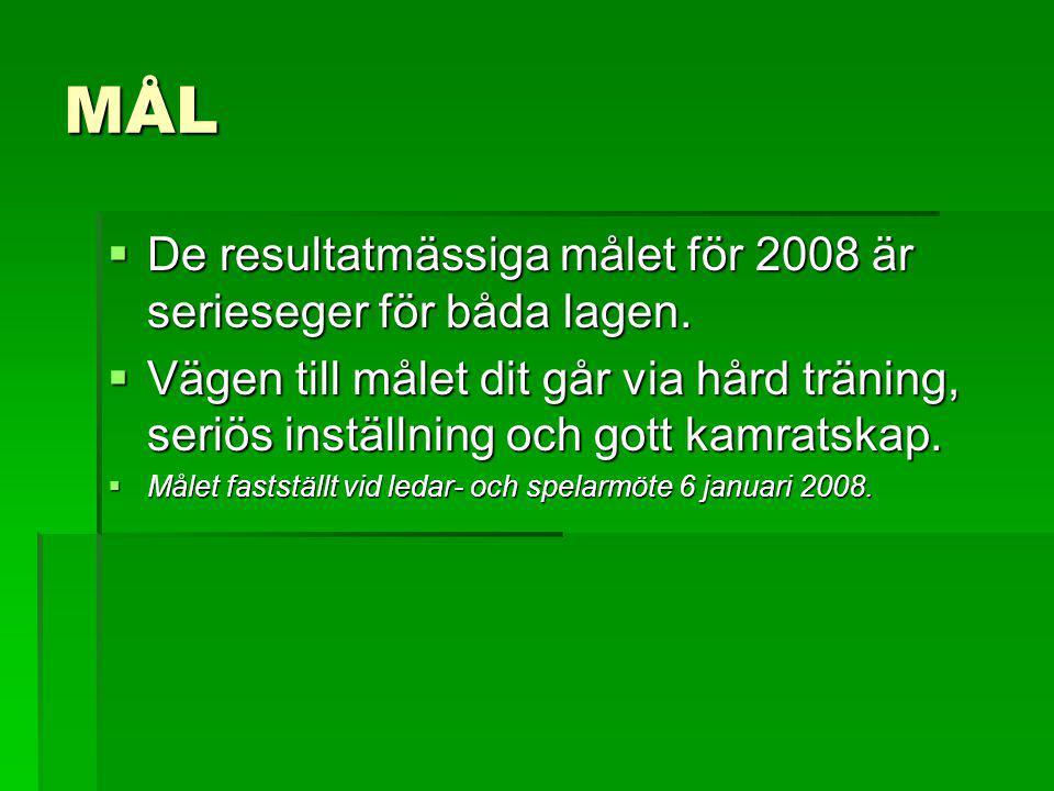 MÅL  De resultatmässiga målet för 2008 är serieseger för båda lagen.  Vägen till målet dit går via hård träning, seriös inställning och gott kamrats