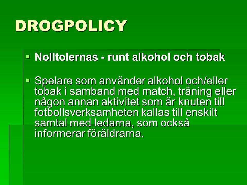 DROGPOLICY  Nolltolernas - runt alkohol och tobak  Nolltolernas - runt alkohol och tobak  Spelare som använder alkohol och/eller tobak i samband me