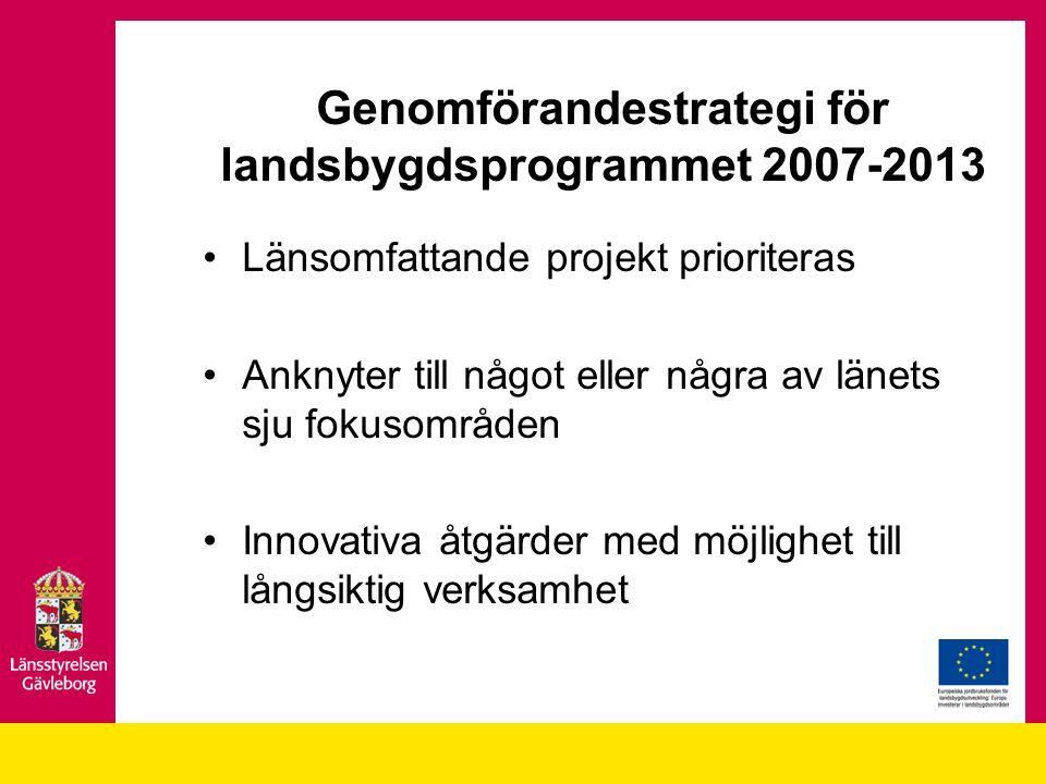 Genomförandestrategi för landsbygdsprogrammet 2007-2013 Länsomfattande projekt prioriteras Anknyter till något eller några av länets sju fokusområden
