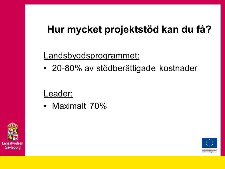 Hur mycket projektstöd kan du få? Landsbygdsprogrammet: 20-80% av stödberättigade kostnader Leader: Maximalt 70%