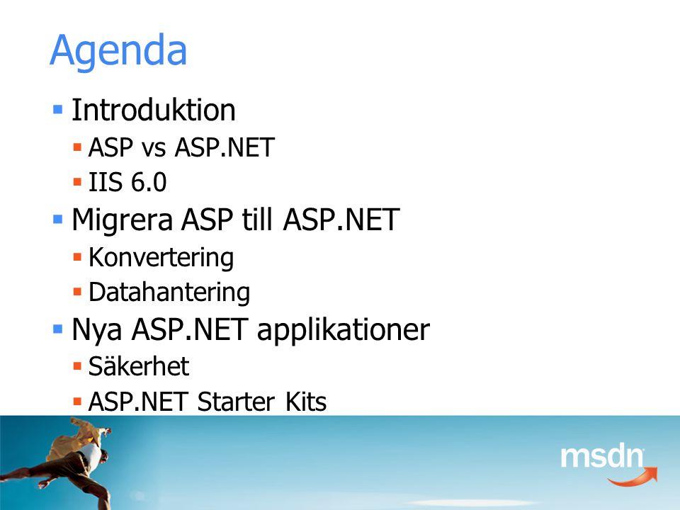 Agenda  Introduktion  ASP vs ASP.NET  IIS 6.0  Migrera ASP till ASP.NET  Konvertering  Datahantering  Nya ASP.NET applikationer  Säkerhet  ASP.NET Starter Kits