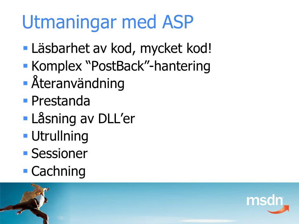 Utmaningar med ASP  Läsbarhet av kod, mycket kod.