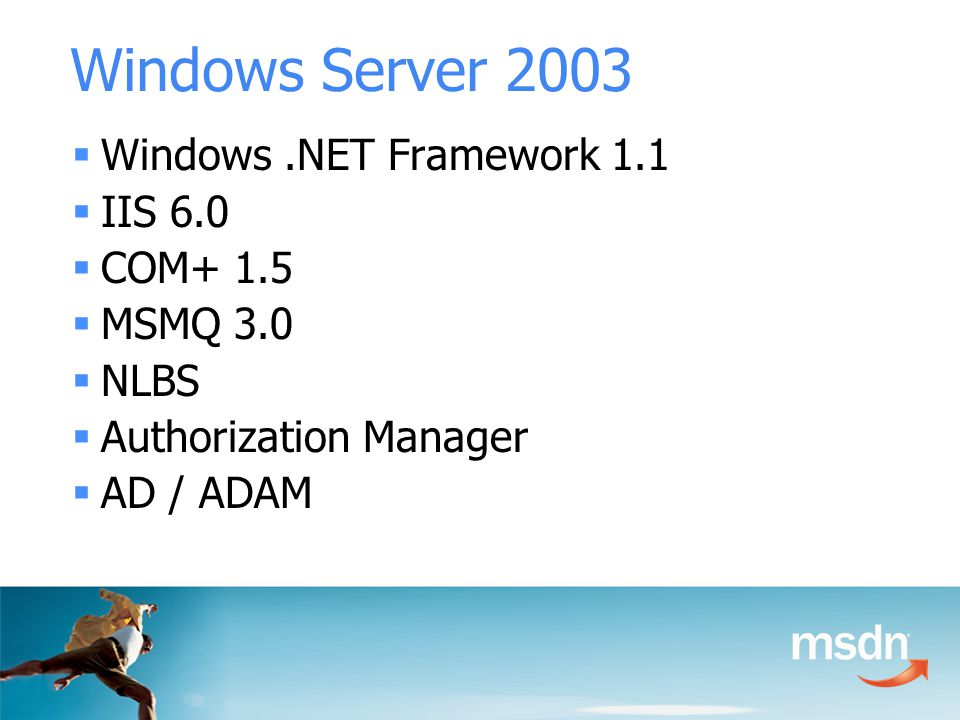 Windows Server 2003  Windows.NET Framework 1.1  IIS 6.0  COM+ 1.5  MSMQ 3.0  NLBS  Authorization Manager  AD / ADAM
