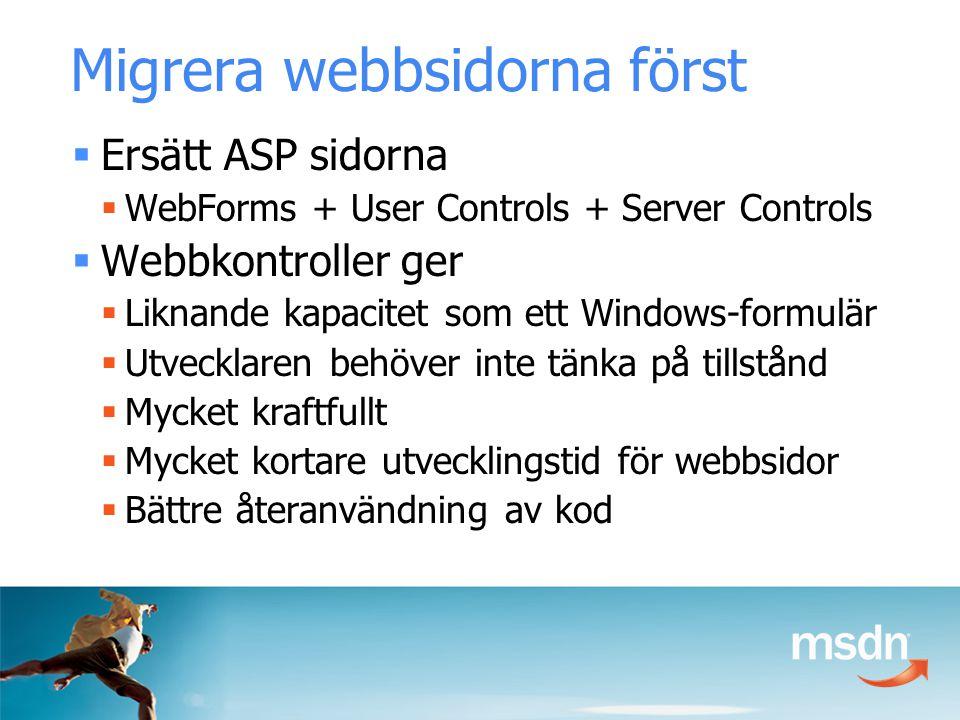 Migrera webbsidorna först  Ersätt ASP sidorna  WebForms + User Controls + Server Controls  Webbkontroller ger  Liknande kapacitet som ett Windows-formulär  Utvecklaren behöver inte tänka på tillstånd  Mycket kraftfullt  Mycket kortare utvecklingstid för webbsidor  Bättre återanvändning av kod