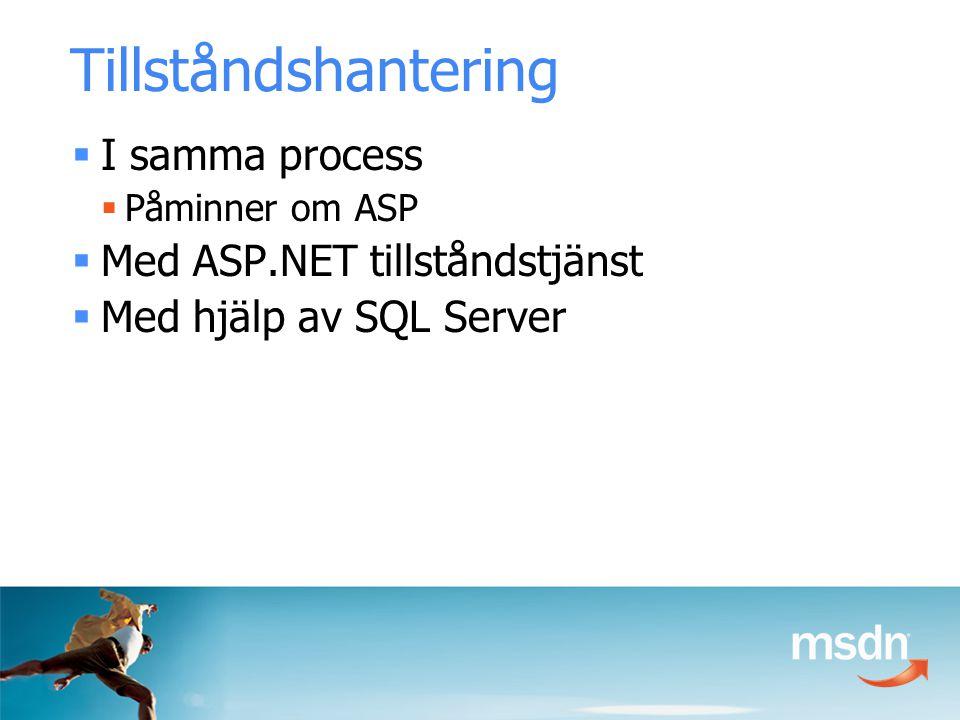 Tillståndshantering  I samma process  Påminner om ASP  Med ASP.NET tillståndstjänst  Med hjälp av SQL Server