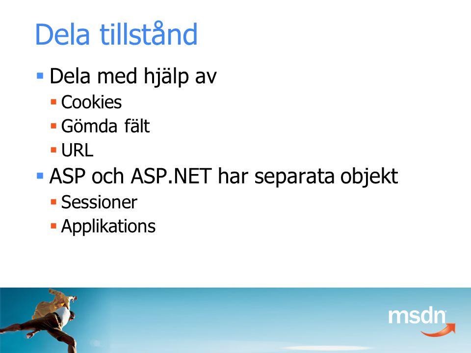 Dela tillstånd  Dela med hjälp av  Cookies  Gömda fält  URL  ASP och ASP.NET har separata objekt  Sessioner  Applikations